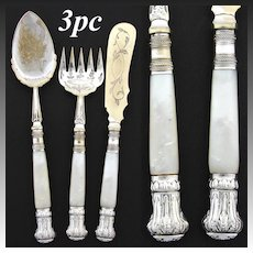 Lovely Antique Victorian Era Silver Plate & Solid Mother of Pearl 3c Hors d'Oeuvre Set