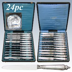 Rare Antique French Sterling Silver 24pc Table Knife Set, Guilloche Style Engraved Handles, Stainless Blades