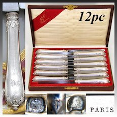 """Rare Antique French Sterling Silver 12pc 10"""" Dinner Knife Set, Ornate Guilloche & Acanthus Handles"""