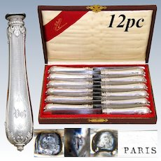"Rare Antique French Sterling Silver 12pc 10"" Dinner Knife Set, Ornate Guilloche & Acanthus Handles"