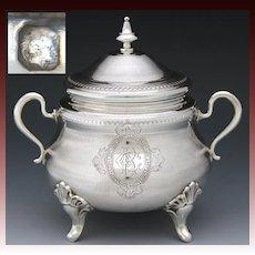 "Ornate Antique French Sterling Silver 5.5"" Sugar Casket, Lidded Sugar Bowl, Dish, Guilloche Decoration"