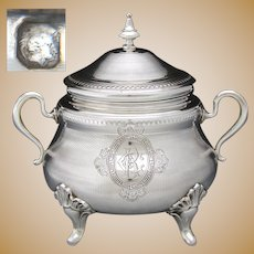 "Ornate Antique French Sterling Silver 5.5"" Sugar Casket, Lidded Sugar Bowl, Dish, Guilloche Decoration"