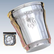 """Antique French Sterling Silver Wine or Mint Julep Cup, Tumbler """"Timbale"""", Classical Pattern"""