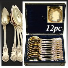 Antique French 18k Gold on Sterling Silver Vermeil 12pc Coffee or Tea Spoon Set, Highly Ornate