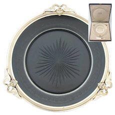 "Antique French Vermeil Sterling Silver & Cut Crystal 8.75"" Pate, Fois Gras Plate, Palais Royal Box"