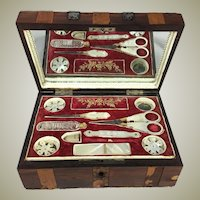 Antique French Palais Royal c.1810 Sewing Box, Tools, 18k, Mother of Pearl Scissors, Thimble, etc