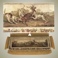 """HUGE Antique French Aubusson Panel, Sofa Cover, 76"""" x 35"""" with Stag and Hounds, c.1780-1830"""