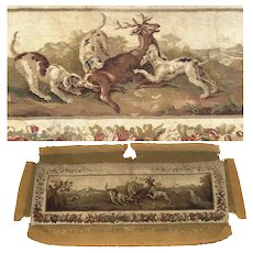 "HUGE Antique French Aubusson Panel, Sofa Cover, 76"" x 35"" with Stag and Hounds, c.1780-1830"