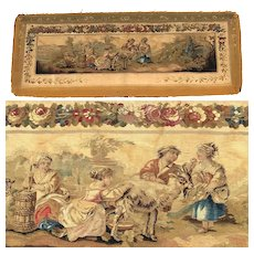 "RARE 55.5"" Long Antique French Aubusson Tapestry Fragment, Sofa Back Panel, Figural and Floral"