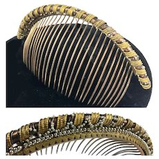 Fine Antique Napoleon Era French Tiara, 12k Gold and Seed Pearls, Hair Comb, c.1810
