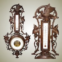 "Antique Black Forest Carved 28.5"" Wall Barometer, Thermometer: Bird & Pierced Vines, Foliage"