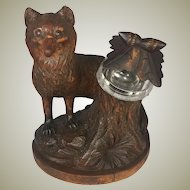 "Antique HC Black Forest 7"" Tall Fox, Glass Eyes, Carved Tree Stump Holds an Inkwell"