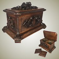 """Antique HC Black Forest 10"""" Double Well Tea Caddy, Box, Casket with Flowers, Cabriole Legs"""