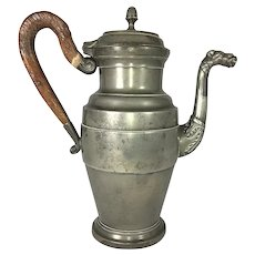 """HUGE Antique French Empire 11.75"""" Tall Coffee Pot, Wood Handle, Figural Spout, """"Etain"""""""