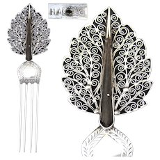Lovely Antique .800 to Sterling Silver Mantilla Style Hair Comb, Filigree Hair Jewelry