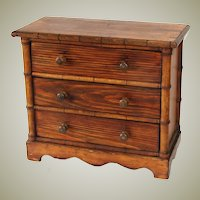 "Antique Victorian to Edwardian ERa 15"" Miniature Bru Doll Sized Chest of Drawers, Faux Bamboo"