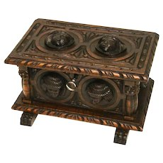 """Charming Antique Victorian Carved Black Forest Style 9.75"""" Casket, Figural Box"""