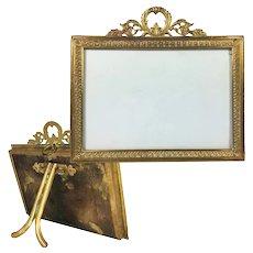 Antique French Dore Bronze Mini Carte de Visite Photo Frame, Horizontal Format