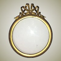 "Antique French Petit Portrait Miniature Frame, Bow Top, 3.5"" Round"