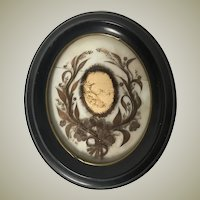 "HUGE 11.75"" x 10"" Oval Antique French Hair Art Mourning Icon, a Beautiful Young Girl Photo Inside, Post Mortem"
