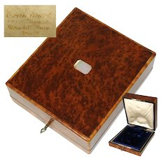 Antique French Marked Burled Jewelry Box, Case, Etui, Pearl Cartouche, Original Fittings for Pocket Watch, Chain +