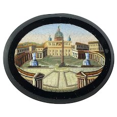 Antique Victorian Era Micro Mosaic of St. Peter's Square, Rome, Unmounted 46mm for Pendant