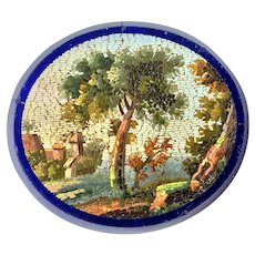 Antique Georgian Era c.1810s Micro mosaic Plaque, RARE Rural Scene, Unmounted Micromosaic