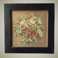 Antique Burled Wood Victorian Frame and Punchwork, Needlepoint on Paper, c.1830-60