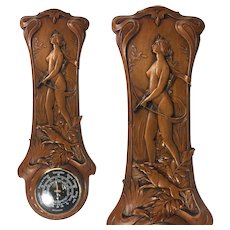 "Antique French Carved Wood Art Nouveau Barometer, 20.5"" Long, Diana the Huntress & Dog, Hound, c.1915"