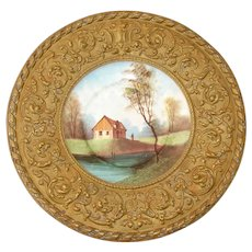 "Antique Victorian Era 15 7/8"" Decorative Wall or Cabinet Plate, HP Porcelain, Ornate Pressed Brass Framing"
