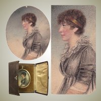 Antique Edwardian Portrait Miniature, Pastels, Pen and Ink Profile Lady in Frame and Case.