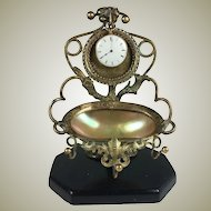 "Antique French 6.25"" Tall Pocket Watch Stand, Mother of Pearl ""egg"" Jewelry Tray"