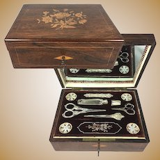 Antiques French Palais Royal Sewing Box, Chest, with MOP Silk Spools, Sterling Silver Tools, Scent Bottle