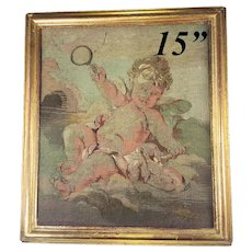 "Antique c.1700s  French Aubusson Tapestry Fragment in Frame (15.25"" x 13.25""), a Putto"