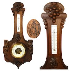 "Antique French Victorian to Edwardian Carved Walnut 26"" Wall Barometer, Thermometer"