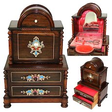 Rare Antique French Napoleon III Era Doll Sized Miniature Chest of Drawers, Sewing Box with Boulle Inlay