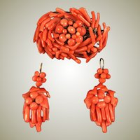 Large and Fine Edwardian or Late Victorian Carved Red Coral Brooch & Earrings Set