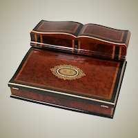 "Exq! Antique French Napoleon III Era 12.5"" Writer's Chest, Box, Lap Desk, Rich Burled Ecritoire"