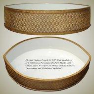 """Vintage French 13.5"""" Porcelaine De Paris Jardiniere or Centerpiece, Gilt Bronze Lattice Casing"""