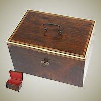 "Fine Antique c. 1820-40 Georgian Era Rosewood 10.5"" Jewelry, Sewing or Work Box"