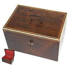 "Fine Antique c. 1820-40 Georgian Era Rosewood 10.5"" Jewelry, Sewing or Work Box"