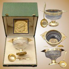 Antique French 18k Gold on Sterling Silver Sugar Bowl, Confiturier & Spoon in Box, Caviar?