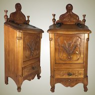 """Antique Country French Salt Box, Cabinet, 18.5"""" Tall, Hand Carved Wood"""