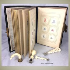 Antique French Engraver's Sample Book, 300 Samples of Wax Seal Monograms, Leather Bound Album