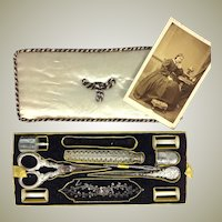 Antique French Palais Royal sewing tools, implements, in tray, Scissors, Needle Case, Silk Spools, Scent Bottle