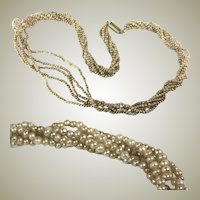 "Antique Victorian to Edwardian 5 Strand Seed Pearl Torsade Necklace, 16"" 14k, 1.5-2mm Pearls"