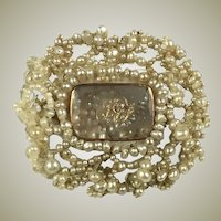 Antique Georgian 22k Gold and Seed Pearl Mourning Brooch, Hinged Rock Crystal Locket
