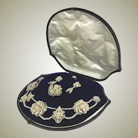 Antique Georgian to Early Victorian 18k Seed Pearl Parure, in Box, Necklace, Brooch, Earrings