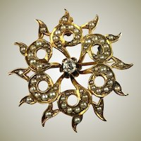 "Antique Edwardian 12k Gold Starburst Pendant, 1 2/8"" Brooch, Diamond, Seed Pearls, Mourning"