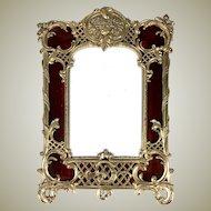 "Antique French Dore Bronze 10"" Tall Frame, Eglomise Glass looks like Tortoise Shell, c.1870"